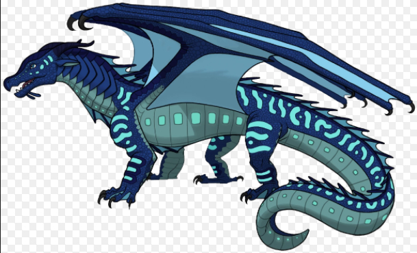 Description: Blue, green and purple scales. Green eyes. Orange claws. Abilities: Scales glow as bright as the brightest night when underwater. If you touch their teeth you'll be either soaked in water, or covered by a shark. They breath strong, strong blasts of water. Queen: Queen Vapor Alliances: They are currently allied with Blood