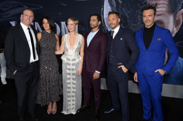 The VENOM cast at Sony's very last-minute premiere this week. Courtesy of Getty Images.