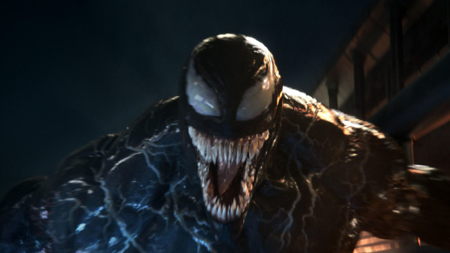 Venom may not have his classic white spider insignia, but every other inch of the character is just as you'd want a live-action version to be. Courtesy of Columbia Pictures.