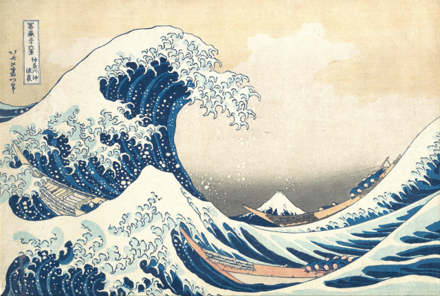 Artist:   Katsushika Hokusai  Source:  The Great Wave off Kanagawa, Public Domain via Wikipedia  Winds, waves and storms have influenced the collective psyche of the Japanese people and this is reflected in their art. This is hardly surprising, when you consider how often they have had to deal with extreme weather conditions and typhoons. The famous painting above shows Mount Fuji in the background and powerful waves in the foreground.
