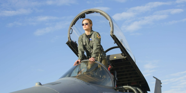 Larson looks absolutely natural in Danver's U.S. Air Force flight-suit.