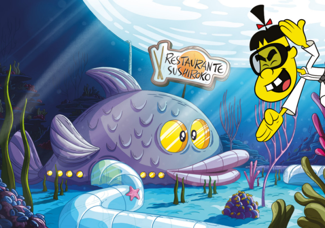 """Um maluquinho que mora nas margens do oceano. Ele trabalha em um restaurante Japonês e no Karaoke. Seus animais de estimação são dois tubarões chamados """"Missoshiro"""" e """"Sukiaki""""."""