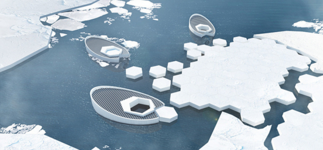 """Indonesian designers developed plans to create a submarine-like structure to float around the Arctic that can """"give birth"""" to an iceberg (or ice """"baby"""") every month.   The freezer involves an on-going process of reverse osmosis that divides fresh water from salt water. Upon the division, the salt water is expelled and only freshwater is enclosed in the freezer. After a month, a new iceberg is released.   READ MORE."""