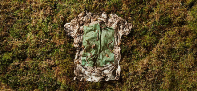 """Vollebak is making a t-shirt entirely from plant and algae materials.  The entire t-shirt breaks down into """"worm food"""" in three months. The t-shirt is made from eucalyptus and beech trees, taken from sustainably managed forests. The wood is then chipped and pulped into a fibre. The ink used in the design is made from algae grown in bioreactors.   READ MORE."""