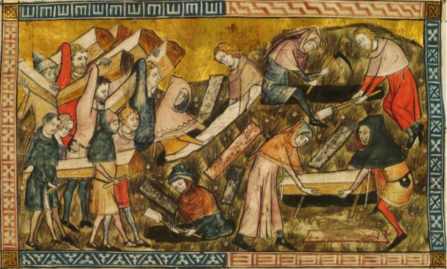 Tournai Citizens Burying the Dead During the Black Death , 14th century