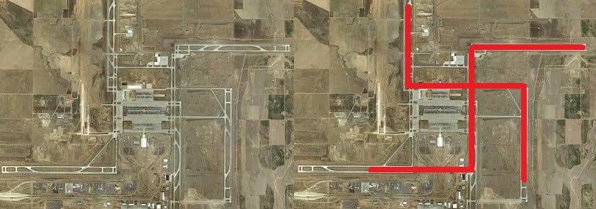 Vista aérea del Aeropuerto Internacional de Denver.-