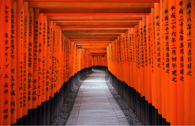 Originally dedicated to the rice and sake gods by the Hata family, the distinctive Fushimi Inari-Taisha is now one of Japan's most popular shrines. The sacred Torii path in particular is an iconic place to capture photos.