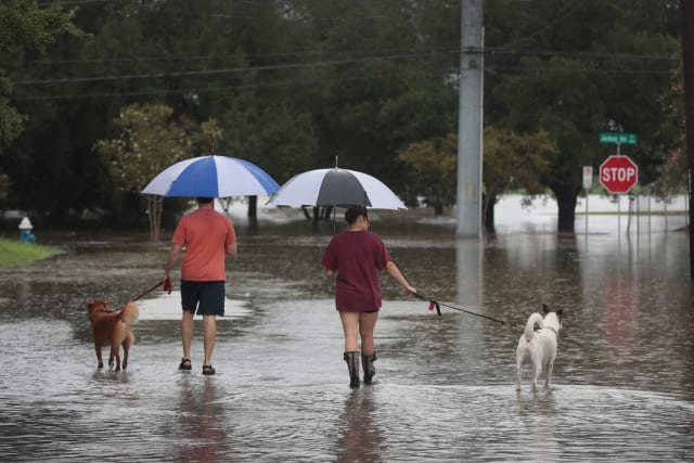This family of four makes its way through the flood waters, umbrellas in hand, as if simply out for a walk on a drizzly day.