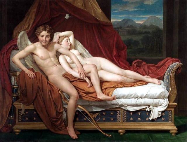 Platón cree que la belleza física no debe influir en la decisión de elegir a un amor, debe ser una fuerza incontrolable que surga únicamente de la admiración y de las ganas de ser mejor.   En la foto: Cupido y Physe por Jacques-Louis David en 1817.