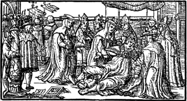 La Papisa Juana dando a luz