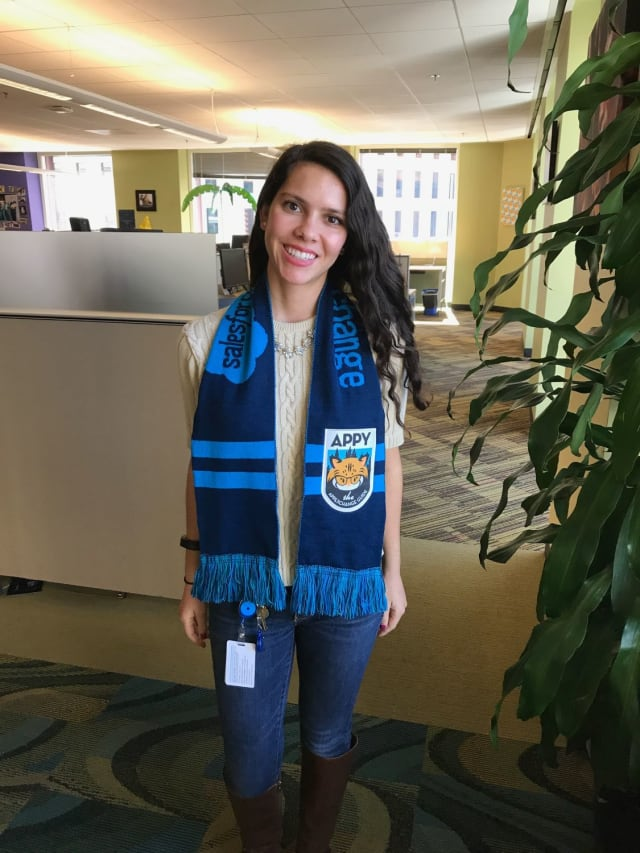 This style is as easy as 1....well, that's it! Simply put it around your neck displaying both sides flatly, with Appy front and center. You'll show the majority of the scarf -- and your ultimate Salesforce pride -- with this look.