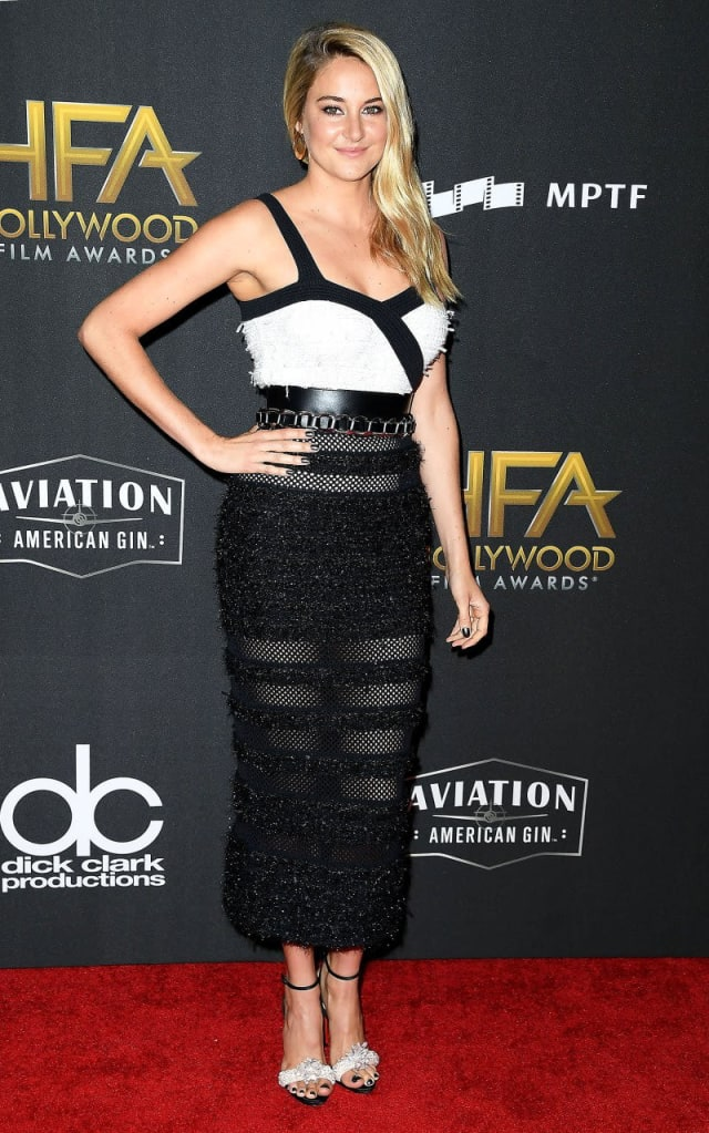 Shailene Woodley shocks with a totally punk-rock semi-mesh black and white fitted dress.