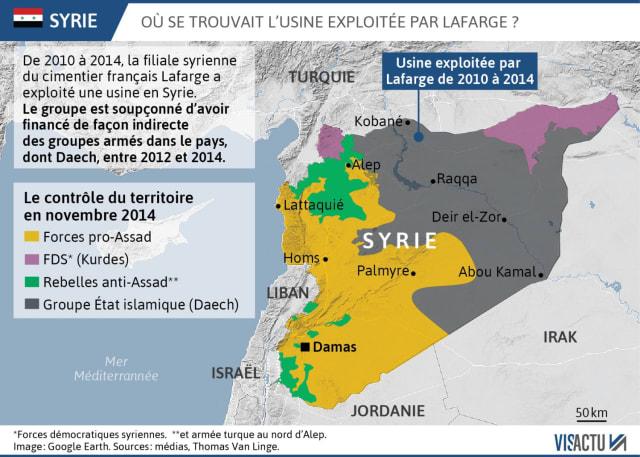 En mars 2012, la France ferme son ambassade à Damas. Le conflit devient militaire et total. Les rebelles affrontent l'armée du régime. Comme des milliers de civils syriens, qui prennent la route de l'exil, la plupart des entreprises étrangères quittent le pays. Pas Lafarge: l'usine tourne à plein régime. La sécurité du site est assurée par l'armée syrienne, puis par les FDS (dominées par les YPG, la branche militaire du parti autonomiste kurde).