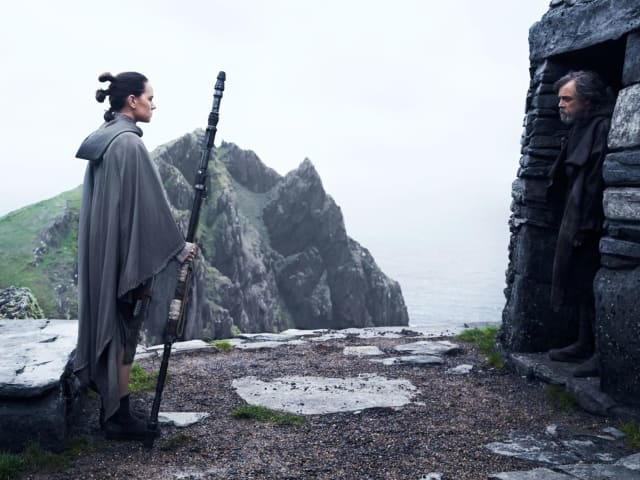"Daisy Ridley opposite legacy icon Mark Hamill as Rey and ""Master Skywalker"", as she calls him."