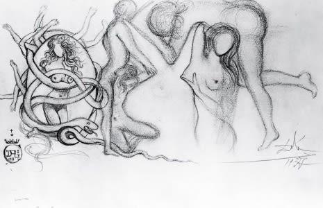 Un buen artista basa su técnica en la planificación, Salvador Dalí organizó específicamente cada una de las fotos que quería que se realizaran con bocetos previos como el de la foto.