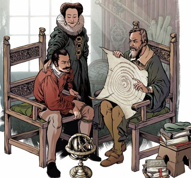 Galileu explica o modelo copernicano á duquesa Cristina e a Federico Cesi