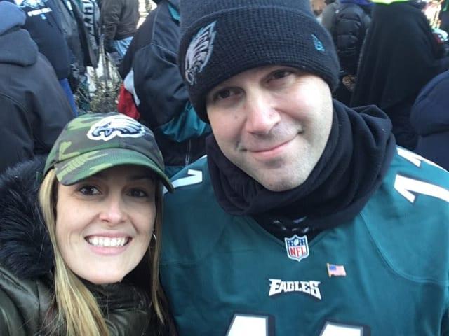 Elizabeth and Jason Burns enjoy Thursday parade with selfie.