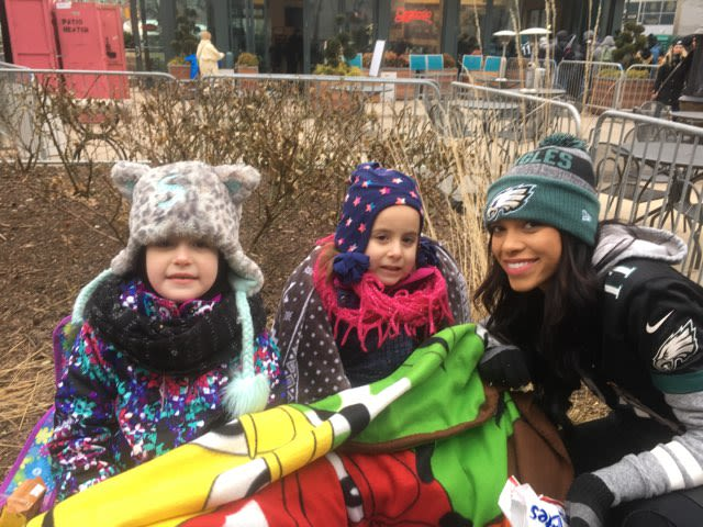 It was cold but that didn't stop three of the Burns' daughters, Samantha, Abby and Taylor.