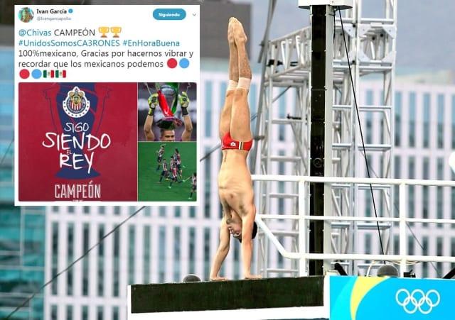 """Otro ferviente rojiblanco de corazón es el medallista olímpico en Londres 2012 apodado """"El Pollo"""". El clavadista mexicano también ha mostrado gusto por el Barcelona al posar con su playera en repetidas ocasiones."""