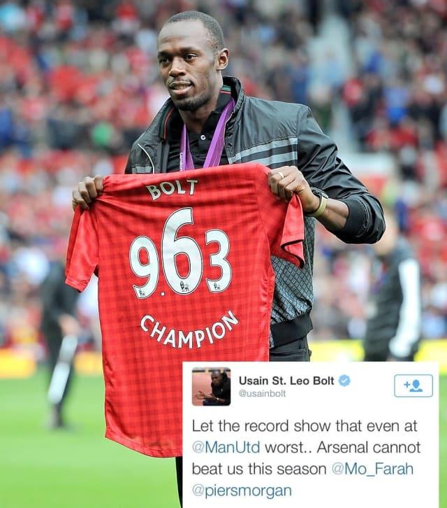 El múltiple campeón olímpico en los 100 y 200 metros nunca ha ocultado su amor al futbol y por el club inglés Manchester United, equipo en el que le gustaría jugar.
