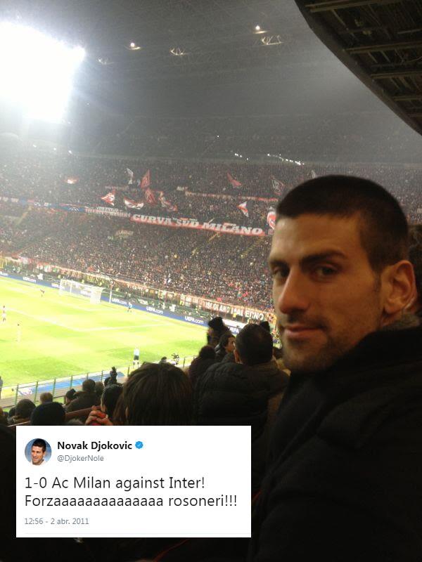 Cuando puede, el tenista serbio múltiple campeón de Grand Slams se escapa para apoyar al Milán en el mismísimo estadio Giuseppe Meazza.