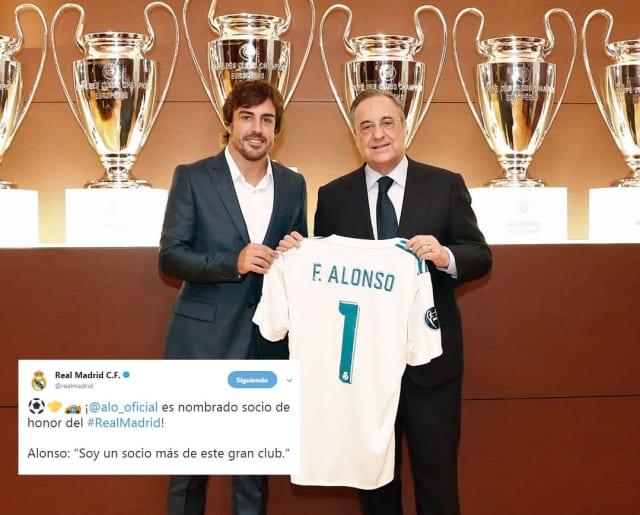 El piloto español del equipo de F1 McLaren siempre ha expresado abiertamente su amor al Real Madrid, equipo del cual dice nació para seguir y éste le respondió haciéndolo Socio de Honor.
