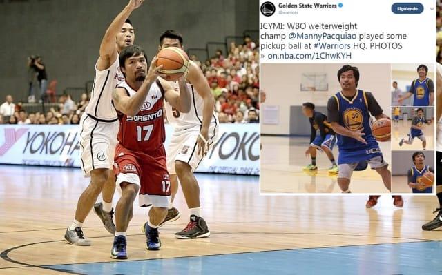 El campeón boxeador filipino es un gran apasionado del basquetbol, al punto que se cuenta que en el juego 7 de la Final de Conferencia entre Boston y Miami, disputado el 9 de junio de 2012, se hizo todo lo posible para que no subiera al ring para su pelea ante Timothy Bradley hasta que el partido de la NBA terminara. Aunque se dice que es fan de los Celtics, se le ha visto con playera de los Warriors.