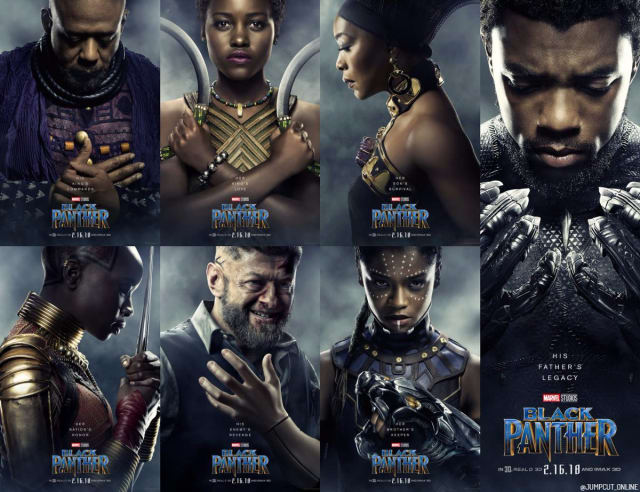 The beyond stellar cast of Marvel's BLACK PANTHER graces some of their best character posters to date.