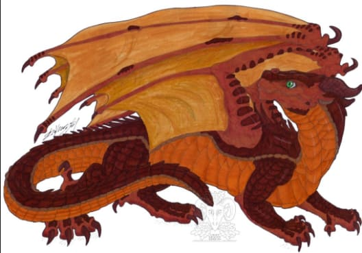 Description: Orange, green and yellow scales. Blue eyes. Yellow claws. Abilities: They can change into whatever living thing they want, but whatever they change into, they always have dragon wings and can breath dandelions. If you touch their scales, you'll be turned into someone who doesn't care about anyone or anything. If you touch their teeth you'll be covered in puppies. They breath dandelions which quickly spread poisonous seeds.. Queen: Queen Eeve Alliances: They are currently allied with Poison