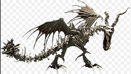 Description: Bones are it's scales. Red eyes. Red claws. Abilities: Their bones shine when it picks up a new bone for it's collection. Their teeth are crooked and sharp. They breath crushed up into mush dragon bones. Queen: Queen Bonenapper Alliances: They are currently allied with Change