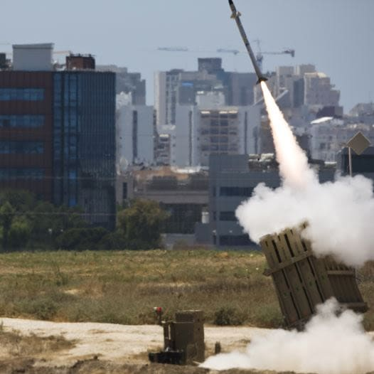 An Iron Dome launcher fires an interceptor rocket in southern Israel.
