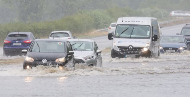 This was the scene earlier on the A1 dual carriageway near Dromore, County Down