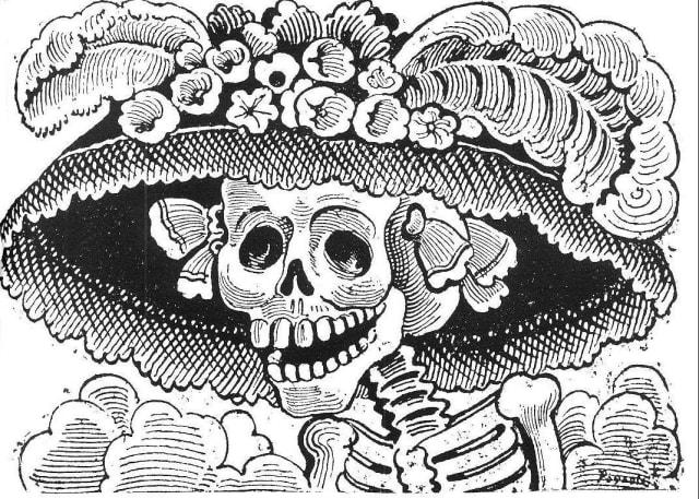 «…en los huesos pero con sombrero francés con sus plumas de avestruz» José Guadalupe Posada.-
