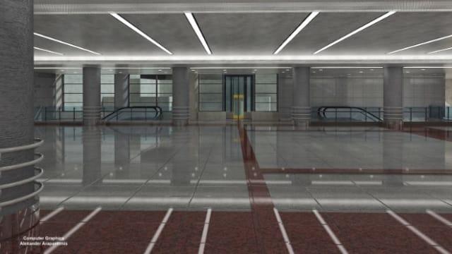 Οι κατακόρυφες επιφάνειες που περιβάλλουν το παραπάνω άνοιγμα έχουν υαλοστάσια για τον φωτισμό του χώρου έκδοσης εισιτηρίων και των χώρων διακίνησης επιβατών.