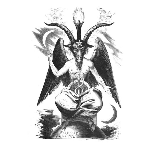 """Baphomet o """"La cabra sabática"""", tal como fue representada por Éliphas Lévi en el siglo XIX en su libro 'Dogma y ritual de la alta magia'.-"""