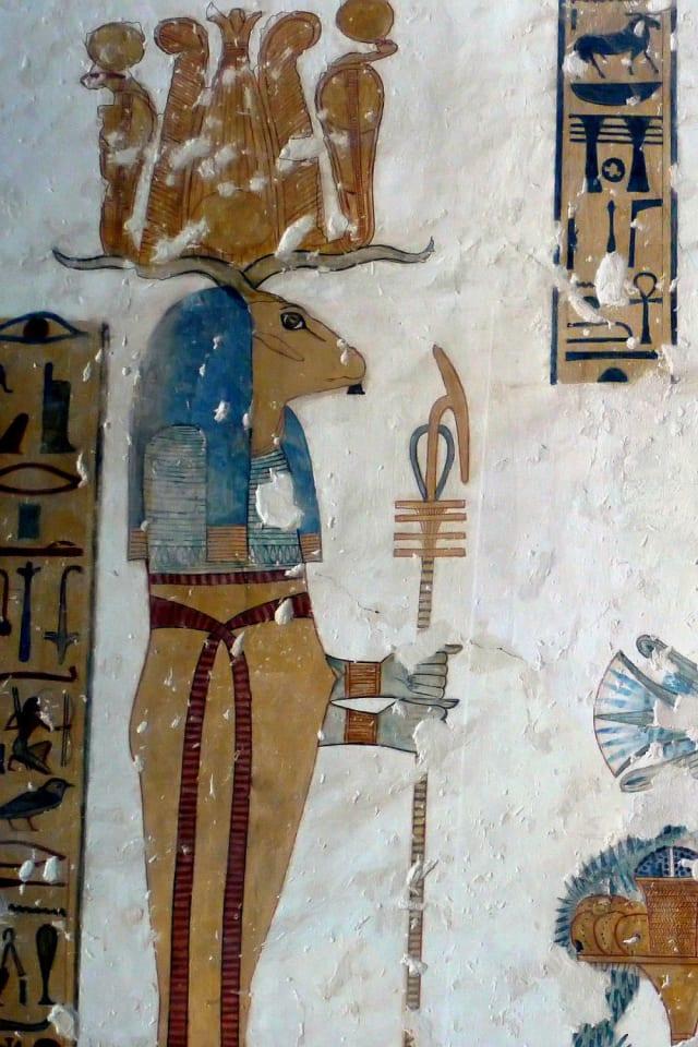 Dios Banebdyedet de la mitología egipcia.-