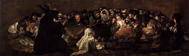 El aquelarre o El gran cabrón, de  Francisco de Goya  (1823).-