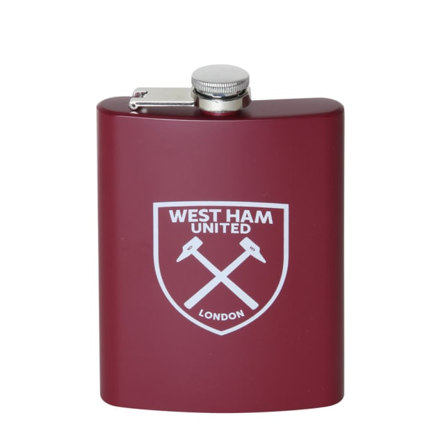 This claret hip flask comes with a funnel and screw top featuring the crest  design in grey. This is the ideal executive gift. Available here! d2e984a65