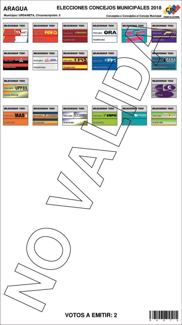 Esta boleta electoral aplica para los habitantes de las siguiente parroquia: Taguay