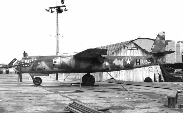 Una de las unidades del bombardero turborreactor alemán traidos a EEUU.