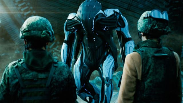 The army does not shoot the insane looking alien