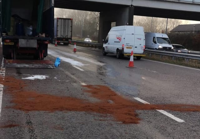 Two lanes to be closed for resurfacing after diesel spill around junction 28. Full story  here
