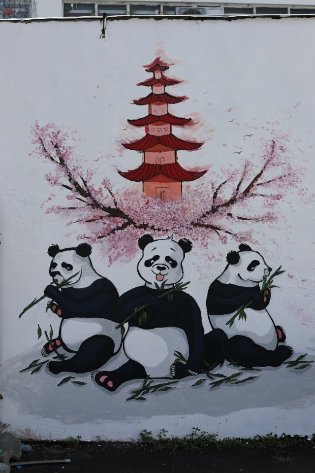 Panda Bear mural in China town Port  Louis, Mauritius commissioned by the New China Town Foundation