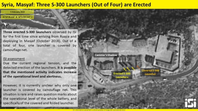 Satellite images show S-300 components deployed in Syria, February 5th, 2019. (Credit: ImageSat International [ISI])