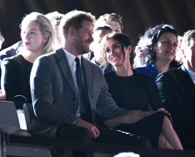 Taken on the 19th October, Meghan looks lovingly at her husband at the opening of the Invictus Games. Photo: PA