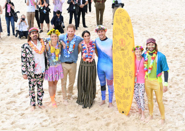 Also from the 19th October - Meghan and Harry on Bondi Beach. Photo: PA