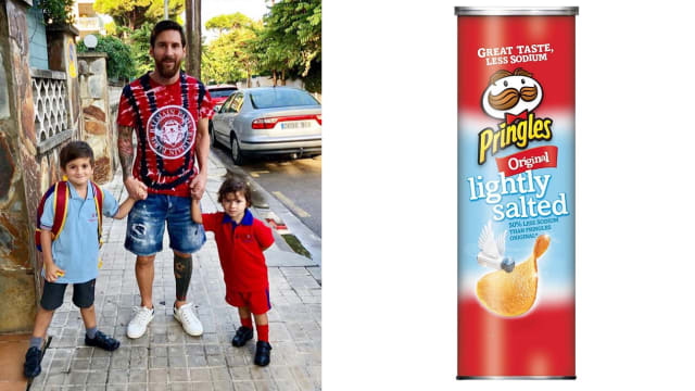 Messi's sons Thiago and Mateo help complete the look.