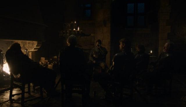 "Tyrion y Jaime Lannister, Sir Davos Seaworth, Sir Brienne of Tarth, Podrick Payne y Tormund ""Giantsbane"".-"