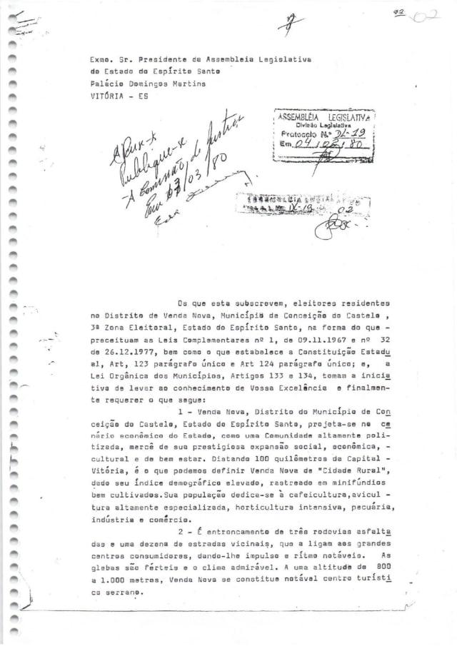 Foi em 1979 que um grupo de vendanovenses se reuniu pela primeira vez para tentar transformar o distrito de Venda Nova em um município. Um pedido chegou a ser protocolado na Ales com abaixo-assinado dos moradores pedindo o desmembramento de Conceição do Castelo. Porém, o distrito não alcançava números suficientes para se emancipar.(a imagem mostra parte do primeiro abaixo-assinado pedindo a emancipação, em agosto de 1979)