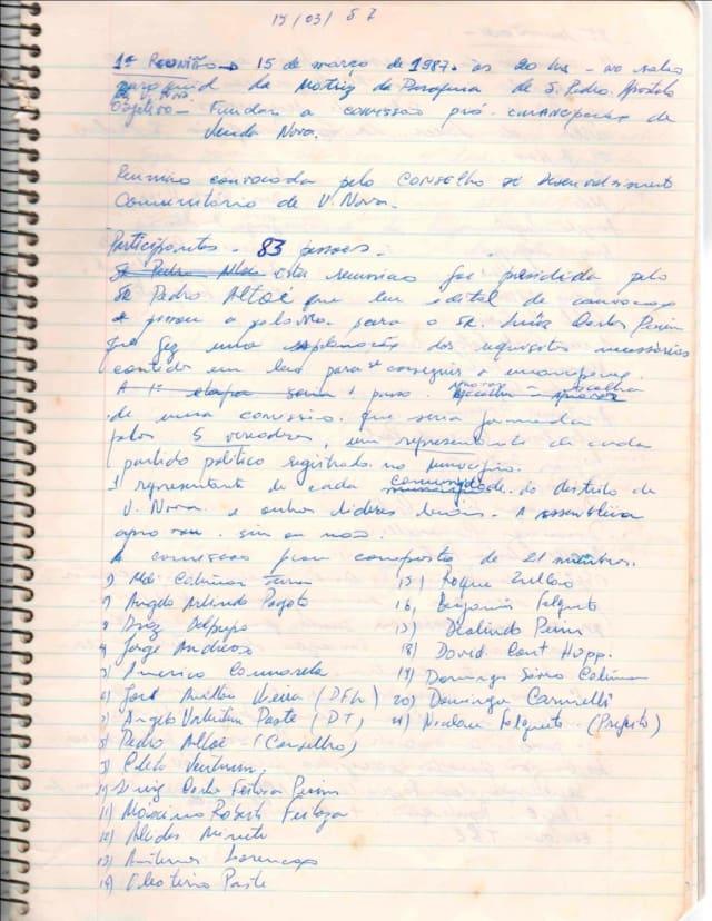 Em 1987, uma comissão formada por 21 membros se reuniram para iniciar os trabalhos de emancipação. Era o Conselho de Desenvolvimento Comunitário de Venda Nova. Eles conduziriam todo o processo que levaria à criação do município de Venda Nova do Imigrante. (Na foto, as anotações para a ata da primeira reunião da comissão)